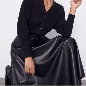 Zara Faux Leather Skirt w Belt Black